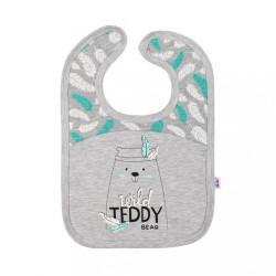 Dojčenský bavlnený podbradník New Baby Wild Teddy sivá