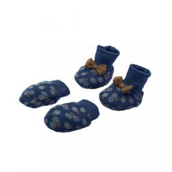 Dojčenský bavlnený set-capačky a rukavičky Nicol Sonia modrá