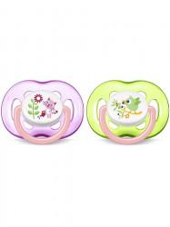 Dojčenský cumlík Avent 18 mesiacov a viac-2ks ružovo-zelený podľa obrázku