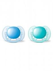 Dojčenský cumlík Ultrasoft Avent 6-18 mesiacov - 2 ks chlapec podľa obrázku