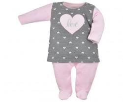 Dojčenský dievčenský overal Koala Jessica sivo-ružový