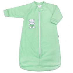 Dojčenský froté spací vak New Baby medvedík mätový zelená