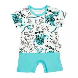 Dojčenský letný bavlnený overal Nicol Dinosaur tyrkysová