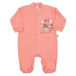 Dojčenský overal New Baby Mouse lososový ružová