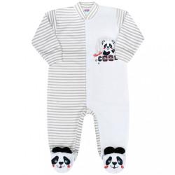 Dojčenský overal New Baby Panda sivá