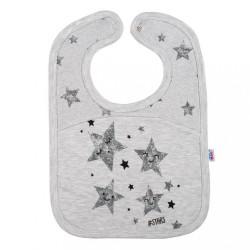 Dojčenský podbradník New Baby Stars sivá