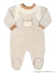 Dojčenský semišový overal Baby Service Veselý medvedík béžový