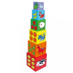 Drevená edukačná pyramída pre deti Viga multicolor