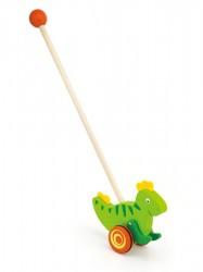 Drevená jazdiaca hračka Viga dinosaurus zelená