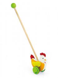 Drevená jazdiaca hračka Viga sliepočka oranžová