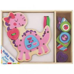 Drevená prepletacia hračka Baby Mix Dino podľa obrázku