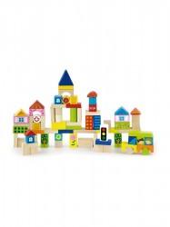 Drevené kocky pre deti Viga City 75 dielov multicolor