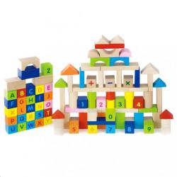 Drevené kocky pre deti Viga Písmenka a čísla 100 dielov multicolor