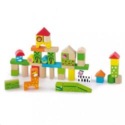 Drevené kocky pre deti Viga ZOO 50 dielikov multicolor