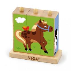 Drevené puzzle kocky na stojane Viga Farma multicolor