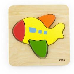 Drevené puzzle pre najmenších Viga Lietadlo multicolor