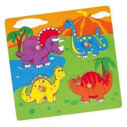 Drevené puzzle s úchytmi pre najmenších Viga Dino multicolor