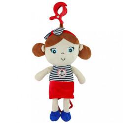 Edukačná hrajúca plyšová bábika Baby Mix námorník dievča Červená