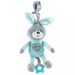Edukačná hrajúca plyšová hračka s klipom Baby Mix králik modrý zelená