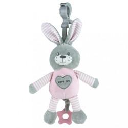 Edukačná hrajúca plyšová hračka s klipom Baby Mix králik rúžový modrá