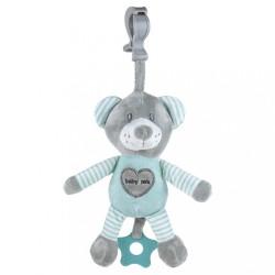 Edukačná hrajúca plyšová hračka s klipom Baby Mix medveď mätový zelená