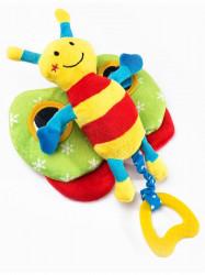 Edukačná plyšová hračka Sensillo motýlik s pískatkom Žltá