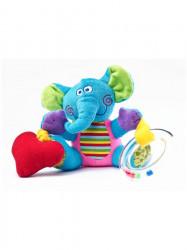 Edukačná plyšová hračka Sensillo sloník s vibrácií a hrkálkou modrá