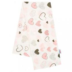 Flanelová plienka s potlačou New Baby biela srdiečka rúžová
