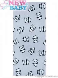 Flanelová plienka s potlačou New Baby sivá s pandami