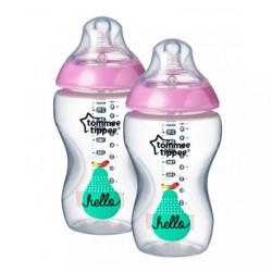 Fľaša Tomme Tippee C2N 340 ml 2ks ružová vtáčiky
