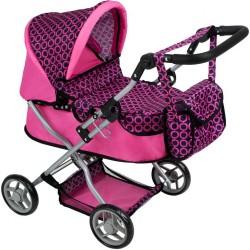 Hlboký kočík pre bábiky PlayTo Viola ružovo-čierny fialová