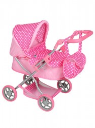 Hlboký kočík pre bábiky PlayTo Viola svetloružový svetlo ružová