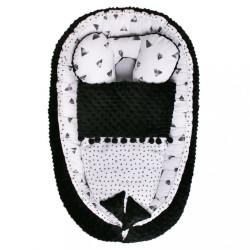 Hniezdočko s perinkou pre bábätko Minky Sweet Baby Belisima čierno-biele