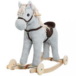 Hojdací koník s kolieskami PlayTo sivá