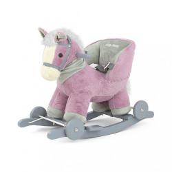 Hojdací koník s melódiou kolieskami Milly Mally Polly fialový