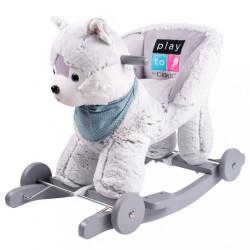Hojdacia hračka s kolieskami PlayTo husky sivá