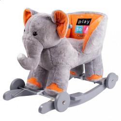 Hojdacia hračka s melódiou a kolieskami PlayTo sloník sivá