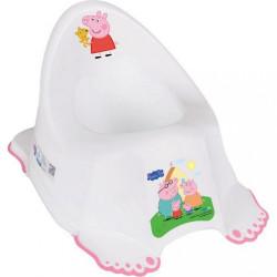 Hrajúci detský nočník protišmykový Prasiatko Peppa white-pink ružová