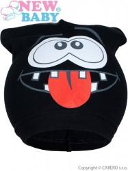 Jarná detská čiapočka New Baby smejko čierná