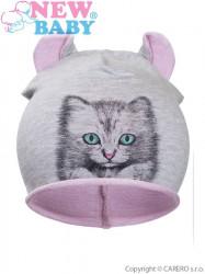 Jesenná detská čiapočka New Baby mačička bledo ružová