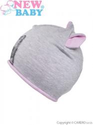 Jesenná detská čiapočka New Baby mačička bledo ružová #1