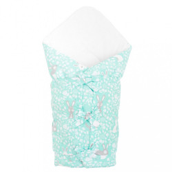 Klasická šnurovacia zavinovačka New Baby Králičky mátová zelená