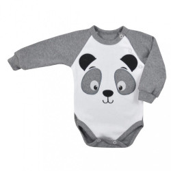 Kojenecké body s dlouhým rukávem Koala Panda sivá