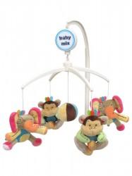 Kolotoč nad postieľku Baby Mix Slony a Opičky podľa obrázku