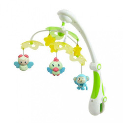 Kolotoč nad postieľku so svetelným projektorom Baby Mix zvieratka zelený