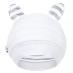 Luxusná detská zimná čiapočka s uškami New Baby Zebra biela