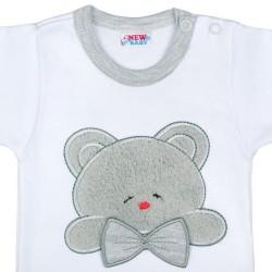 Luxusné dojčenské body s dlhým rukávom New Baby Honey Bear s 3D aplikáciou biela #1