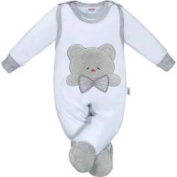 Luxusné dojčenské body s dlhým rukávom New Baby Honey Bear s 3D aplikáciou biela #4