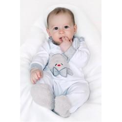 Luxusné dojčenské body s dlhým rukávom New Baby Honey Bear s 3D aplikáciou biela #5