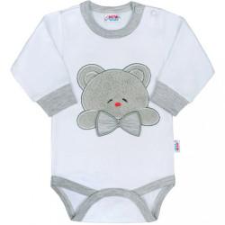Luxusné dojčenské body s dlhým rukávom New Baby Honey Bear s 3D aplikáciou sivá